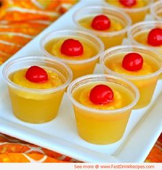 Upside Down Pineapple Cake Jello Shots...1 cup canned pineapple juice, 1 tablespoon sugar (optional), 1.5 packets Knox unflavored gelatin, 1 cup cake flavored vodka (or whipped vodka or vanilla), Maraschino cherries, Pineapple...