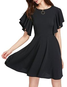 f16e35d8547 ROMWE Women s Stretchy A Line Swing Flared Skater Cocktail Party Dress  Black XS Cheap Dresses