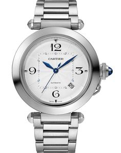 Cartier Pasha de Cartier - the round dial frames a square minute track. Cartier Santos, Mens Watches Leather, Watches For Men, Wrist Watches, Men's Watches, Cartier Pasha Watch, Cartier Panthere, Waterproof Watch, Leather Watch Bands