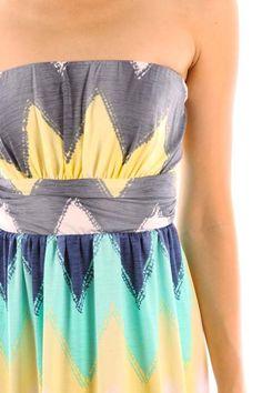 Chevron Print Dress--Yellow – Off Newbury