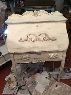 Chalk paint, distressed secretary
