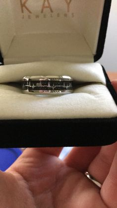 I decided since my amazing boyfriend gave me a promise ring, that I should do the same for him. This is a heart beat wedding band turned promise ring!