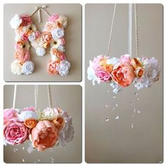 This is a custom listing for flower mobile/floral chandelier and matching 45cm/18 flower letter in any color combination you choose (if you would like 35cm/14 letter, there is another listing in my shop).  This listing is with 10% discount already counted in!  A perfect decor for your little ones room, nursery or childrens room, also can be used in bedroom, or as beautiful accents for photoshooting or wedding. Awesome gift idea to a baby shower or birthday!  US buyers - shippin...: