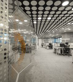 Pedra Silva Arquitectos completed the design for the Uralchem headquarters, a global chemical products company, located in Moscow, Russia. The building, Visual Merchandising, Office Graphics, Office Workspace, Office Art, Workspace Inspiration, Workplace Design, Window Film, Office Interiors, Interiores Design