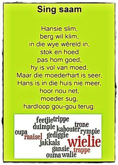#Afrikaners #Childhood Memories Rhyming Words For Kids, Kids Poems, Children Songs, Toddler Learning Activities, Kids Learning, Preschool Church Crafts, Animals Name In English, Afrikaans Language, Storybook Party