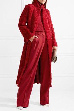 Max Mara | Leather-trimmed camel hair wide-leg pants | NET-A-PORTER.COM