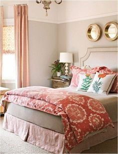 pattern mix in bedroom bhg...salmon and khaki palette with gold touches