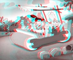3D Anaglyph Conversion Of A Flintstones 2D Desktop Image Photo by rustybonesjones | Photobucket