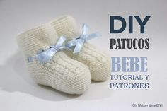 DIY Tutorial y patrones: Patucos de bebé tejidos con dos agujas :D