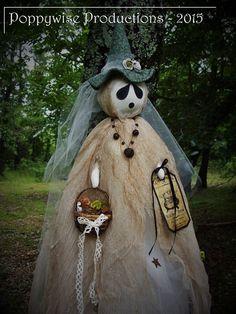 "OOAK Halloween Folk Art * Tattered Swampy Witch Ghost Doll  50"" Long * POPPYWISE #NaivePrimitive"