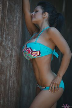 Denise Milani preview of her newest set Colorful Bikini.