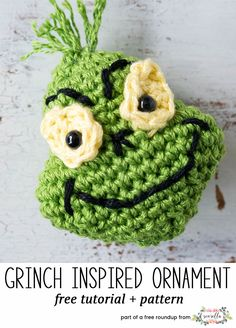 Crochet this easy grinch amigurumi character christmas ornament from my free crochet christmas ornaments roundup!