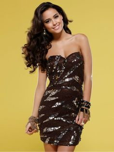 Short Strapless Sweetheart Sequin and Beaded Dress with Natural Waistline