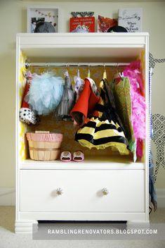 "How to turn a dresser into a ""dress up closet""!"