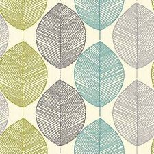 Papier Peint Motif Feuille Retro Art Maison Couleur Sarcelle Vert Limon 408207