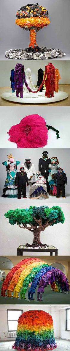 Recycled Clothes Sculptures