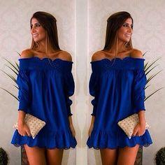 Doce pescoço barco azul vestidos de festa Casual senhoras Plus Size praia vestido de verão Sexy vestidos de festa azul Ruffles doces meninas vestem alishoppbrasil