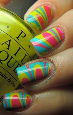 Bright Water Marble ♥ i want to have perfect nails like these and not my crappy ones
