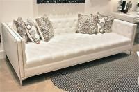 www.roomservicestore.com - White Faux Leather Tufted Deep Sofa