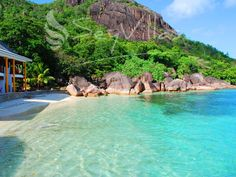 """Seychelles hotel at private dream beach """"Anse Petit Cour"""" Praslin Seychelles, Seychelles Hotels, Honeymoon Hotels, Reserve, Beaches In The World, Tropical Paradise, Africa, Island, Water"""