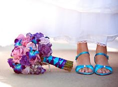 This is SOO PERFECT! blue and purple wedding bouquets | blue and purple bridal bouquet by shaenasl21 with stunning blue ... @Renee Shafer