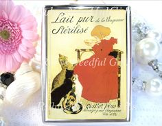Cigarette Case, Art Nouveau Cigarette Box, Metal Cigarette Case, Metal Wallet, Birthday Gift, Best Friend Gift, French Poster, Girl and Cats by RubysNeedfulGifts on Etsy
