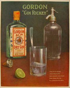 Original vintage magazine ad for Gordon's Gin featuring a recipe for a Gin Rickey. Vintage Advertising Posters, Vintage Advertisements, Vintage Ads, Vintage Posters, Gordon's Gin, Gin Bar, Gin Images, Cocktails Drawing, Gin And Soda