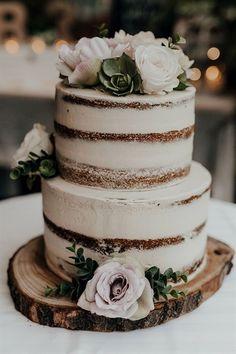 Naked wedding cake simple flowers less without icing #WeddingCakeDecorating