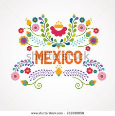Mexico flowers, pattern and elements. Vector illustration - stock vector