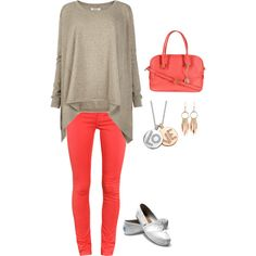 gray/coral, created by lisa-trent.polyvore.com