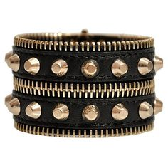 VERSACE Studded Bracelet ($235) ❤ liked on Polyvore featuring jewelry, bracelets, accessories, pulseiras, pulseras, studded jewelry, leather jewelry, zipper jewelry, leather bangles and versace jewellery