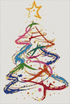 Abstract Christmas tree counted cross stitch kit by YiotasXStitch
