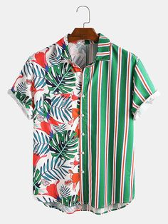 Fashion Showroom, Shirt Sale, Henley Shirts, Printed Shorts, Mens Printed Shirts, Summer Shirts, Mixing Prints, Casual Shirts For Men, Tropical Plants