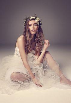 Backless crochet lace train wedding dress design idea