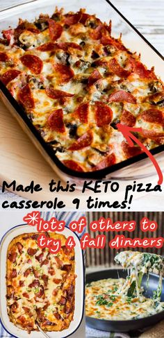 Best keto casserole recipes!! These keto casseroles make the BEST fall dinners!!! My fav is the low carb pizza casserole, so good!! It makes the best keto diet dinner recipe. LCHF casseroles to make ahead!!! Keto dinner recipes!!!! YUMMMY!!! PS I love to eat leftover keto pizza casserole the next day cold, it takes like cold pizza (without the carbs)!!