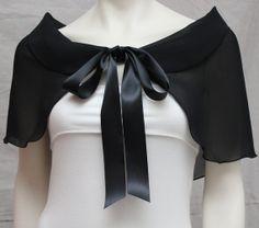 Black Petal Collar Chiffon Bridal Capelet Shawl Bridal by boubo, $53.00 | See more about collars, chiffon and shawl.
