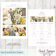 Love and Sunshine Photography Price List Template for Photography Marketing or Wedding Price List Template