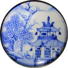 Glass Dome Button Asian Scene in Blue & White 1 & 3/8 inch  AAI 58