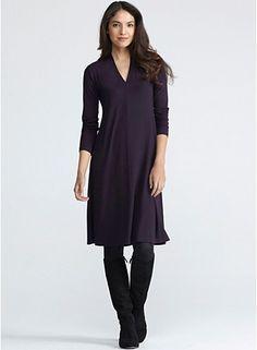 High Back V-Neck Knee-Length Dress in Viscose Jersey