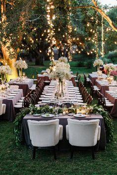 Dreamy spring wedding set up for a reception at dusk. #springwedding #wedding #florals
