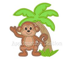Monkey Palm Tree Tropical Applique Machine Embroidery Design Cute boys or girls green brown baby animal INSTANT DOWNLOAD