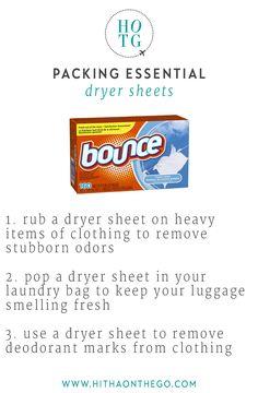 Packing Essential Dryer Sheet - Beauty Tutorial