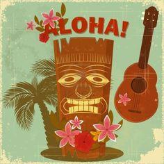 2 x Glossy Vinyl Stickers - Aloha Hawaii Travel Tiki Fun iPad Laptop Decal Hawaiian Art, Hawaiian Theme, Hawaiian Tattoo, Vintage Hawaiian, Hawaiian Bedroom, Surf Vintage, Vintage Tiki, Vintage Style, Fashion Vintage