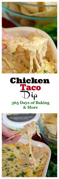 This Chicken Taco Dip with refried beans, chicken, Shamrock Farms Zesty Jalapeño Sour Cream and cheese