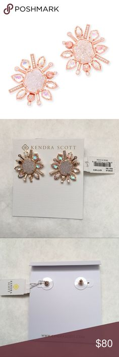 """Kendra Scott Ophelia Stud Earrings In Radiant • 14K Rose Gold Plated Over Brass • Size: 1.15""""L x 1.02""""W on post • Material: white kyocera opal, iridescent drusy, matte dichroic glass, rock crystal over dichroic glass, iridescent rock crystal, ivory mother-of-pearl Please note: Due to the one-of-a-kind nature of the medium, exact color patterns may vary slightly from the image shown. Kendra Scott Jewelry Earrings"""