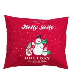 Pillowcase in cotton with a printed Christmas motif. Thread count 144.