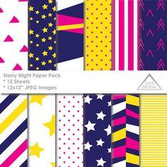 Pink Starry Night Digital Paper Stars Stripes Navy Yellow