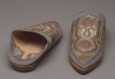 Pair of man's slippers by . A work from the collections of the de Young and Legion of Honor museums of San Francisco, CA. Moroccan Slippers, Body Adornment, Mens Slippers, Bohemian Gypsy, Dandy, Morocco, Islamic, Men's Shoes, Footwear
