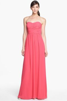 'Stephanie' Strapless Ruched Chiffon Gown (Plus Size)