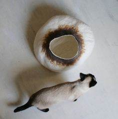 Cat Nap Cocoon / Cave / Bed / House / Vessel  Hand by vaivanat, $75.00